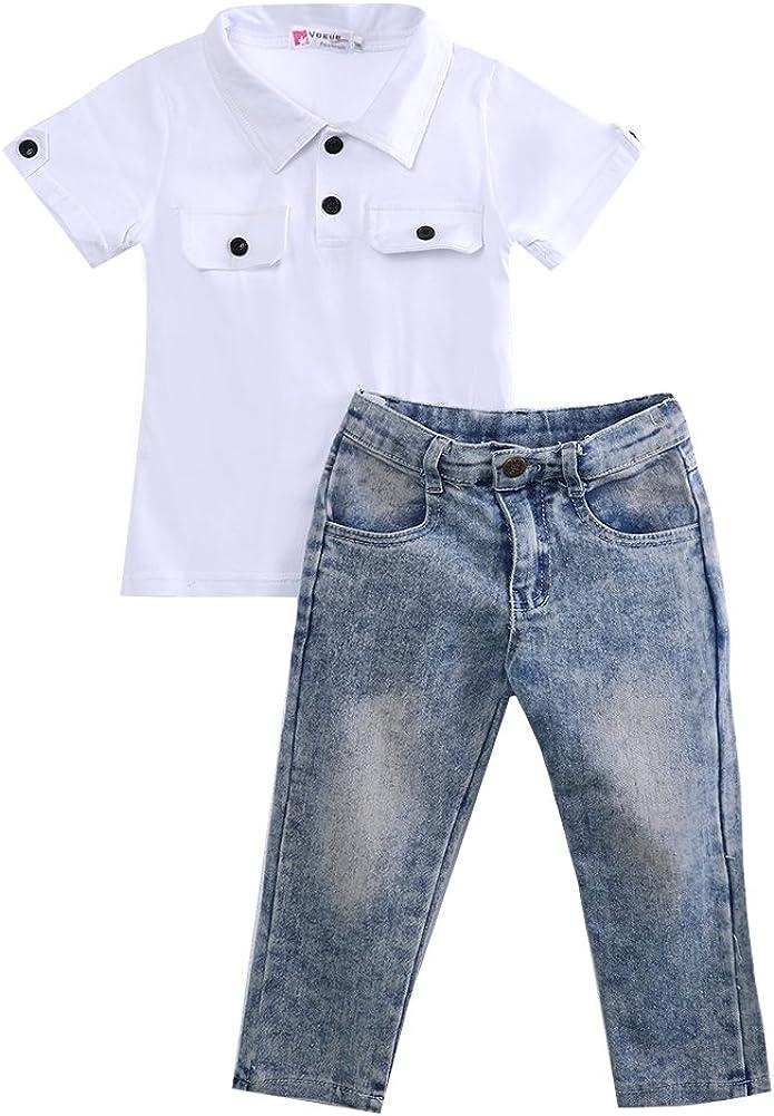 Happyear 2Pcs/Set Kids Baby Boy Girl T-Shirt Tops Denim Pants Trousers Outfits Clothes
