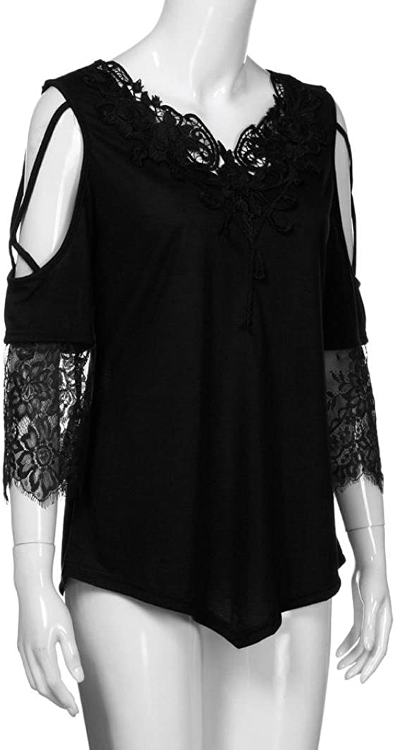 MRULIC 2020 Neue Damen Große Größe Frauen Spitze Schulterfrei T-Shirt Kurzarm Casual Top Bluse Schwarz
