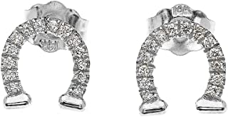14k Diamond Horseshoe Good Luck Stud Gold Earrings