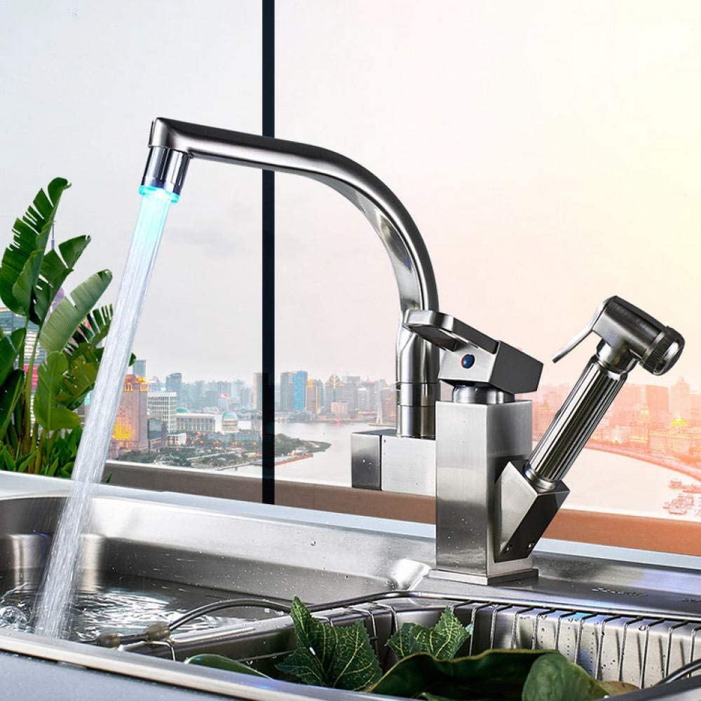 Kitchen Tap Raleigh Mall Brushed Nickel Dual Out D Manufacturer OFFicial shop Spout Faucets Pull