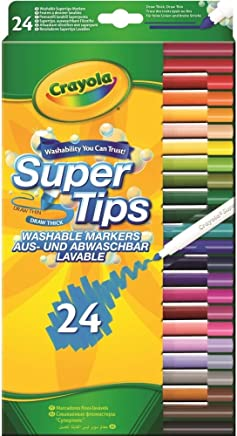 Crayola SuperTips Washable Felt Tip Colouring Pens, Pack of 24