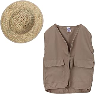 Kids Outdoor Safari Adventure Vest and Straw Pith Hat