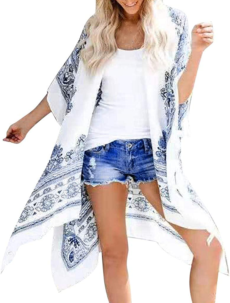 Fashion Womens Ladies Casual Boho Print Short Sleeve Summer Casual Long Cardigan