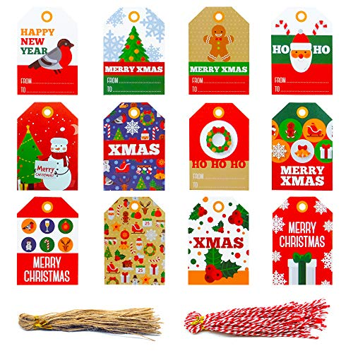 Christmas Tags, 96 Pcs 12 Styles, Gift Tags, Hang Labels Pre-Punched with Holes with 100 Ropes String for DIY Art Crafts Xmas Present Wrap and Label Package Name Card