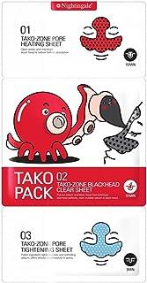 Nightingale Koreaanse cosmetica 3 stap Tako Pack mee-eters & talg reinigingsoplossing 1 pak (3 vellen)