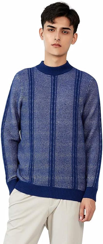 织礼 Zhili Men's 100% Cashmere Striped Knit Mock Neck Pullover Sweater