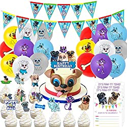 Nelton Birthday Party Supplies For Puppy Dog Pals Includes Banner - Cake Topper - 24 Cupcake Toppers - 18 Balloons - 15 Invitations