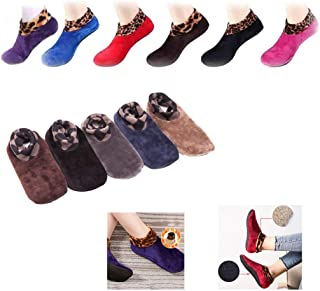 Youyuekefu, 2 Pairs of Non-Slip Thermal Socks - Autumn Winter Indoor Leopard Floor Socks, Calcetines De Danza De Yoga De Terciopelo De Doble Capa