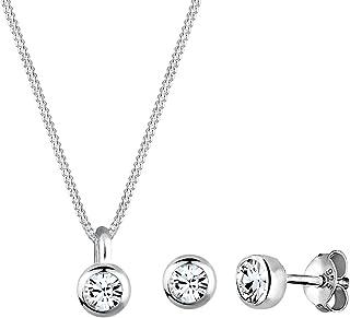 Elli Women Basic Swarovski® Crystals 925 Sterling Silver Jewellery Set