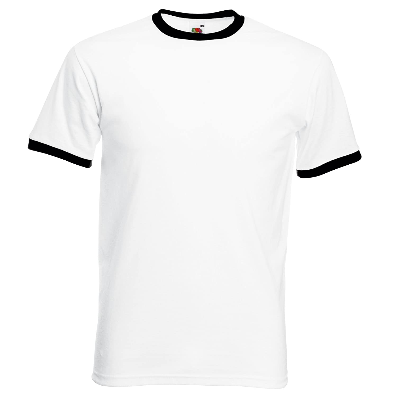 Contrast Collar//Hem Plain Tee//T-shirt Top Fruit of the Loom Cotton Ringer T