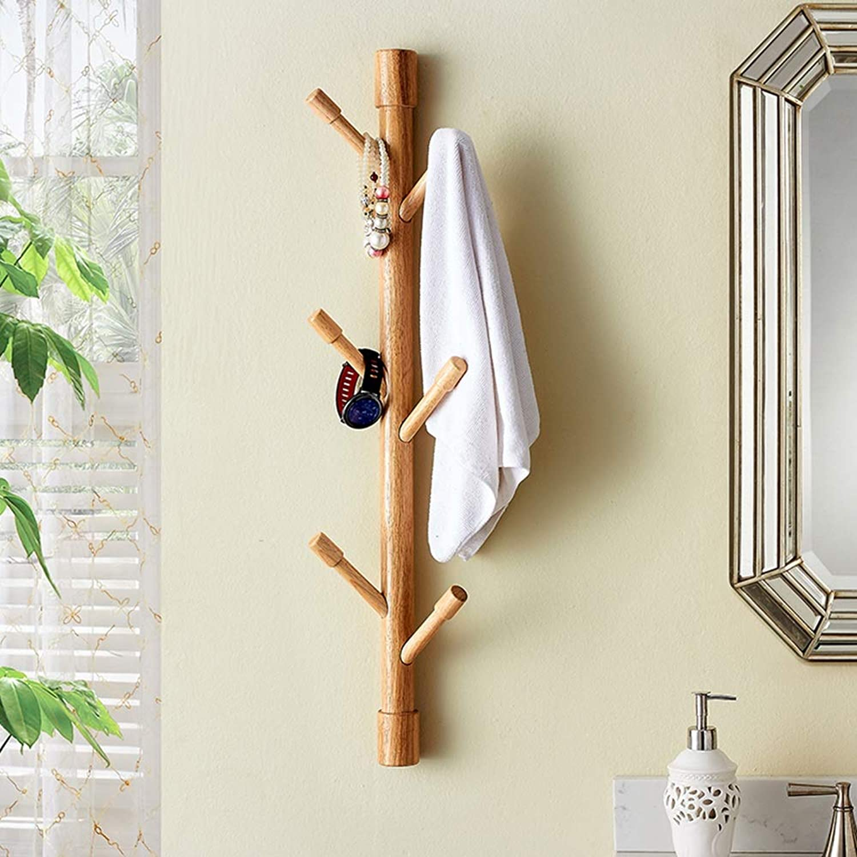 Chunlan Coat rack Wall-Mounted Solid Wood Coat Rack, Multi-Function Rack, Living Room Bedroom (color   Wood color)