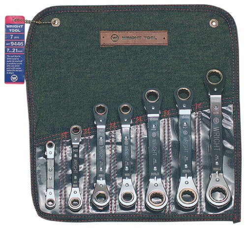 Wright Tool 9446 7 Pc. Ratcheting Box Wrench Set 7mm - 21mm (7-Piece),Silver