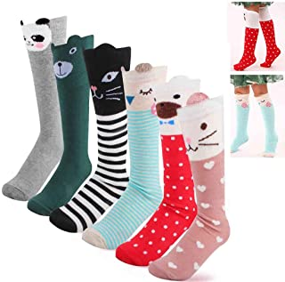 6 Pairs Kids Trouser Socks, Animal Cotton Knit Girls Socks for Kids Animal Socks Knee High Cat Knee High Socks for Girls Fuzzy Knee Socks for Kids, Warm Kids Trouser Socks for Girls, Cat, Bear, Calf