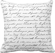 Emvency Throw Pillow Cover France Paris French Script Chic Apt Decorative Pillow Case Home Decor Square 18 x 18 Inch Pillowcase