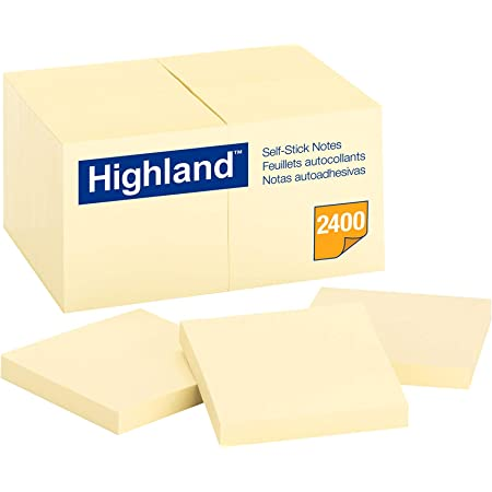 Highland Sticky Notes, 3 x 3 Inches, Yellow, 24 Pack