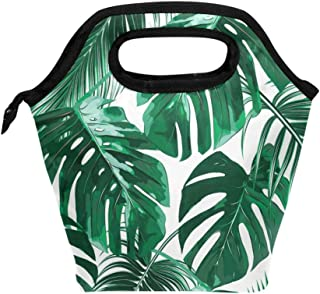 Palm And Banana Tree Leaves Lunch Bag Cooler Tote Bag Insulated Lunch Box for Outside Traveling Office School