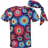 COSAVOROCK Disfraz de Hippie Psicodélico años 60s 70s Hombre Camiseta con Diadema (L, Multicolor)