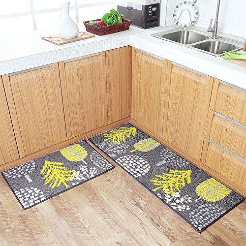 Homcomoda 2 Pieces Kitchen Mats Washable Runnner Rugs Rubber Backing Kitchen Mats and Rugs Sets Floral Non-Skid Doormats (18¡Á27+18¡Á47 Inch)