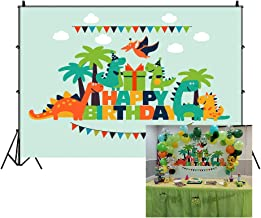 LFEEY 7x5ft Cartoon Dinosaur Kids Happy Birthday Backdrop for Pictures Lovely Funny Dinosaurs Children Gilrs Boys Birthday Party Photography Background Photo Studio Props
