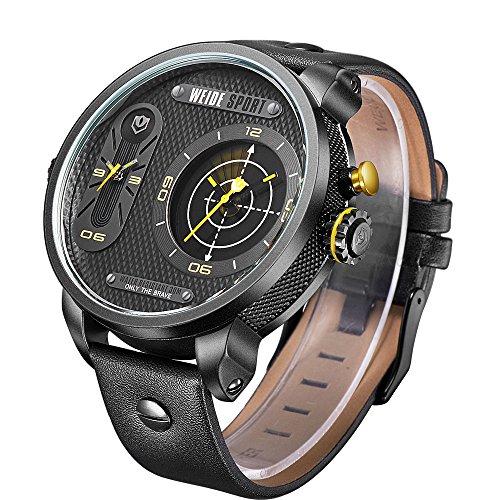 CursOnline - Elegante reloj de pulsera de Weide WH3409 Sport Classic Oversized con doble horario de cuarzo Radar Edition tamaño grande XXL CoL424-15 Pulsera