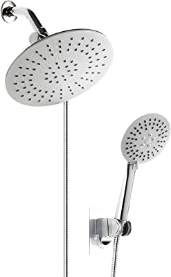 "GUNMIN 8.7"" 3-Way Rainfall Shower Head Combo for The Rain Showerhead and 3-Setting Handheld Shower Separately or Together, with Adhesive Holder and 60"" Hose, Chrome Finish (D-1022A)"