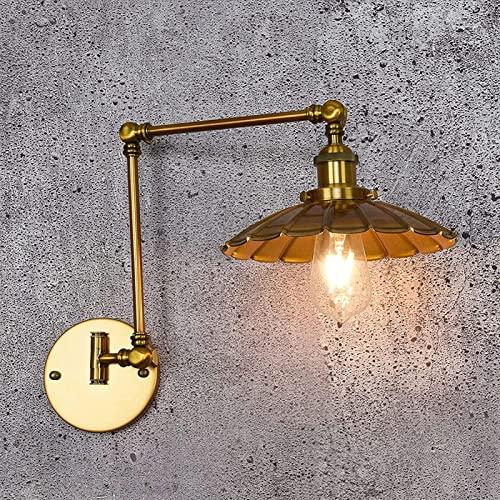 LEMORTH Lampada industriale dell'annata del retrowall, lampada da parete del braccio regolabile dell'oro, con il braccio lungo la parete della camera da letto della camera da letto rotabile del bracci