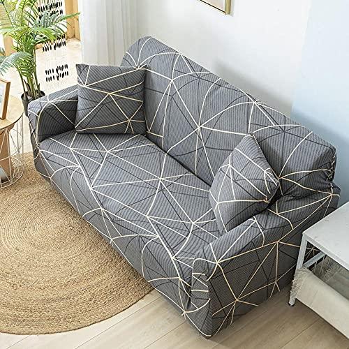 Funda Sofa Elastica 4 Plazas Protector para Sofás Antideslizante Funda Longue Chaise Cubre Sofa de Poliéster Decorativas Cubierta para sofá Ajustables - Geometría Gris