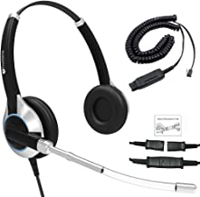 Deluxe Double Ear Headset with a Noise Reduction Voice Tube & HIS Adapter for Avaya IP 1608, 1616, 9601, 9608, 9611, 9611G, 9620, 9621, 9630, 9631, 9640, 9641, 9650, 9670, J139, J169 and J179