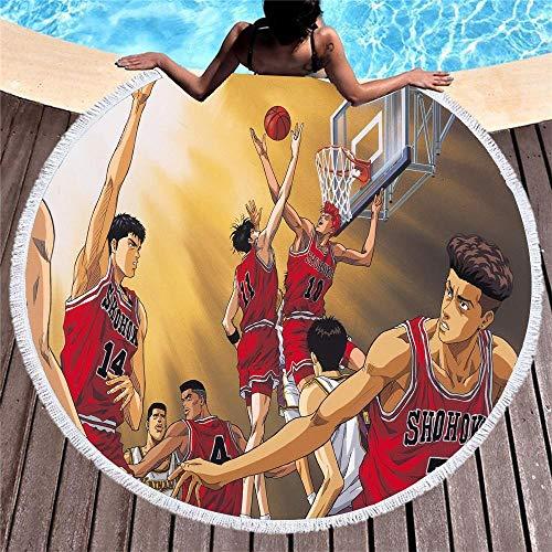 SDFGS Jugador de Baloncesto de Dibujos Animados Toalla de Playa Redonda Microfibra Secado rápido Toalla Deportiva pasteurizada Estera de Yoga Grande decoración del hogar de Las Mujeres