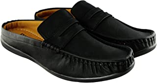 Blinder Men's Full Black Back Open Casual Mocassion Shoes