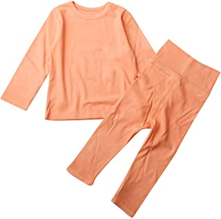 Sumeier Solid T-shirt Tops Pants Pajamas Sleepwear for 1-6Y Toddler Baby Kids Girls Boys