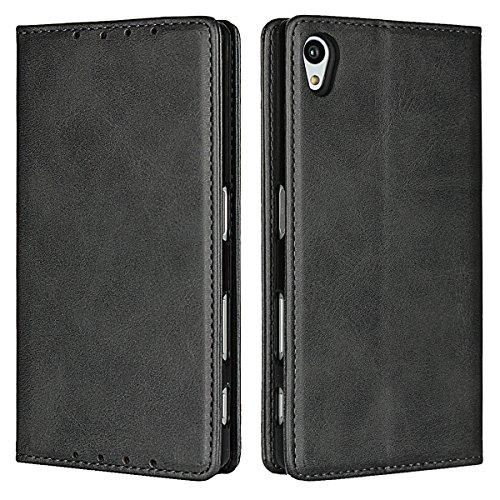 Zouzt Sony Xperia Z5 Hülle,Premium Leder Folio Flip Geldbörse mit magnetischem Verschluss/Kickstand-Funktion/Kartenschlitze/Seitentasche(Matt schwarz)