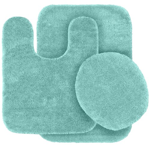 Garland Rug 3-Piece Traditional Nylon Washable Bathroom Rug Set, Seafoam