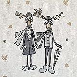 Stoff Meterware Baumwolle natur Elch Winter Weihnachtsstoff