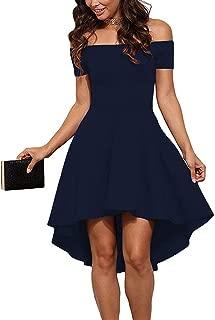 Womens Off The Shoulder Short Sleeve High Low Cocktail Skater Dress