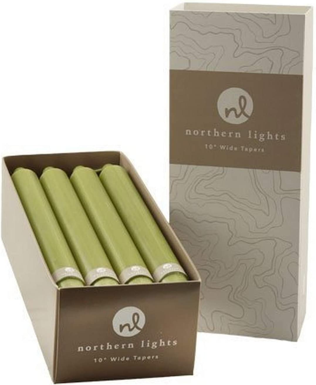 Northern Max 40% OFF Lights Candles Nlc Wide Tapers Moss Attention brand 12Pc Box 10 Green I