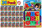 JA-RU ABC Magnetic Letters Party Favor Bundle (24 Pack) Learning Letter Best Alphabet Magnet for Refrigerator Fun & Spelling Games Toys 1405-ABC-24-p