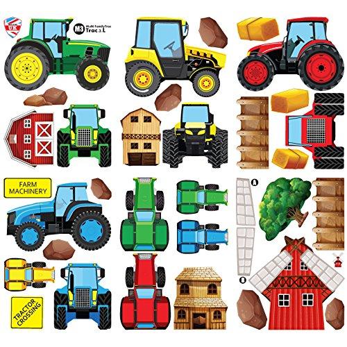 GET STICKING DÉCOR® Bauernhof Traktor & Digger Wandtattoo, Wandsticker Kollektion, MultiFamilyTrac Trac.2, Glänzend Herausnehmbar Vinyl, Multi Farbe. (Large)
