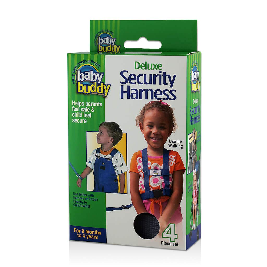Baby Buddy Deluxe Safety Harness, Secures Around Toddler to Keep Safely at Your Side, in a Stroller, Shopping Cart, or Booster Seat, Black
