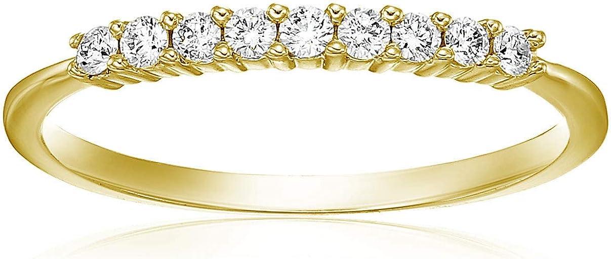 Vir Jewels 1/5 cttw Diamond Wedding Band 14K Yellow Gold 9 Stones Prong Set Round