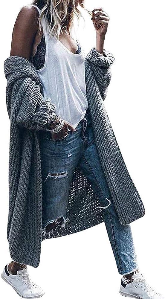 ZSBAYU Sweaters for Women Knit Cardigan Sweaters Coats Casual Loose Long Sleeve Jacket Womens Fall Winter Long Sweaters