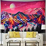 Racunbula Trippy Mountains Tapestry Planet Tapestry Forest Tree Tapestry Psychedelic Tapestry Pink Nature Landscape Wall Hanging Tapestries for Room(H51.2×W59.1 inches)