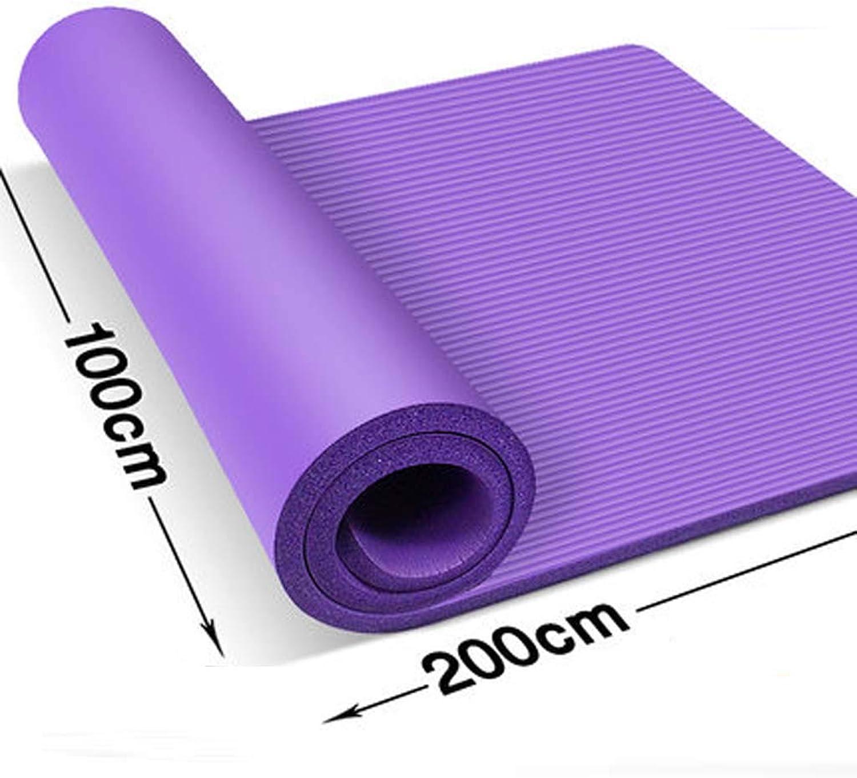LINrxl Yoga-Mattenbreite 1 Meter lang 2 Meter Fitnessmatte Doppel-übungsmatte mit hoher Dichte NBR-Matte für Pilates, übung (Farbe   lila, Größe   20mm)