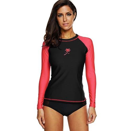 121f3da7e ATTRACO Womens Rash Vest Long Sleeve Swim Shirts UPF 50+ Rash Guards Surf  Swimsuit Tops