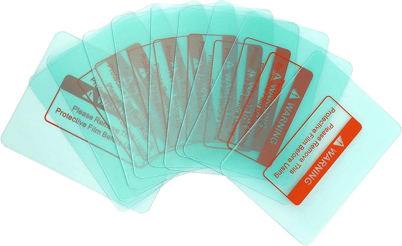 10 piezas cubierta de lente de casco de soldadura placa protectora transparente esquina redonda 116 x 90 mm