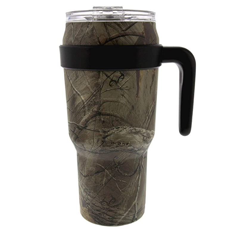 REDUCE COLD-1 Stainless Steel 40oz Extra Large Vacuum Insulated Thermal Mug, 3-in-1 Lid and Handle - Ideal for Coffee or Water, Powder Coat (Realtree Camo), Great for Home/Travel, Straw Not Included