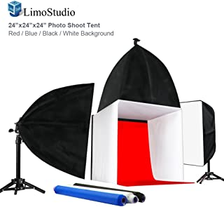 JSAG194 Julius Studio 24 x 24 Table Top White Cube Shooting Tent Diffuse Soft Light Box with 4 Color Backgrounds Black White Red Blue Commercial Product Photography Photo Studio