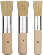 COCODE Wooden Stencil Brush (Set of 3), Natural Bristle Brushes Perfect for Acrylic Painting, Oil Painting, Watercolor Pai...