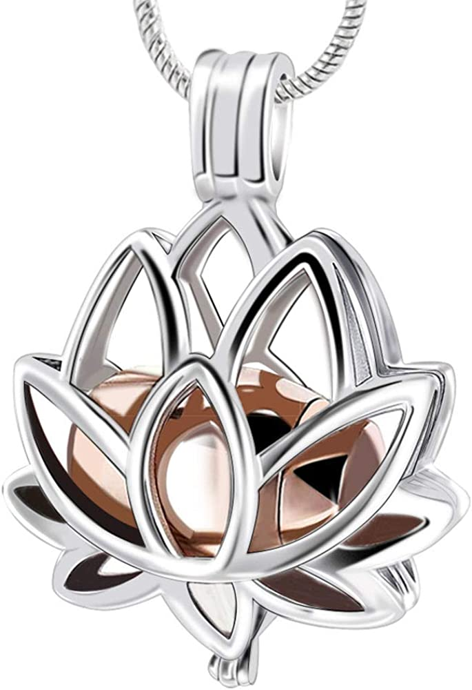 LYFML Limited time cheap sale Cremation Jewelry Urn Pendant Necklace Lotus All items in the store with Hollow F