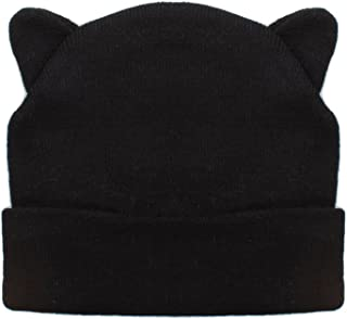 Ladies Black Beanie Hat with Cool Cat Ears Design